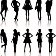 Stock Vector: Beauty girls silhouette