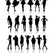 Royalty-Free Stock Vector Image: Beauty girls silhouette