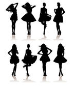 Beauty girls silhouette — Stock Vector