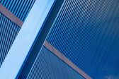 Blue Corrugated Walls Beams — Stock Photo