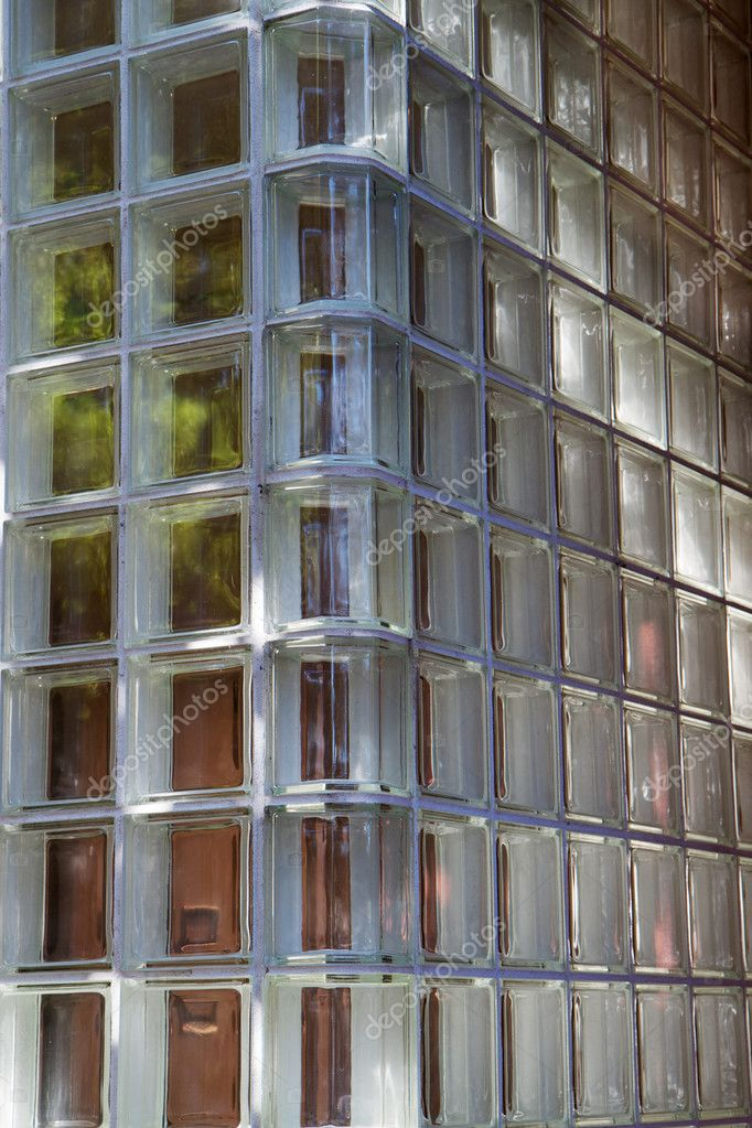Glass corner wall with slight green tint — Stock Photo #3913209