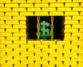 Dollar in gold cage — Stock Photo