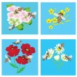 Stock Vector: Set of cards with bees and flowers