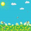 Stock Vector: Spring landscape with sun, grass