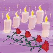 Candles and flowers in mourning ceremony — Stock Vector