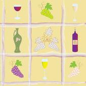 Modello senza saldatura con uva, bottiglia, calici e anfora — Vettoriale Stock