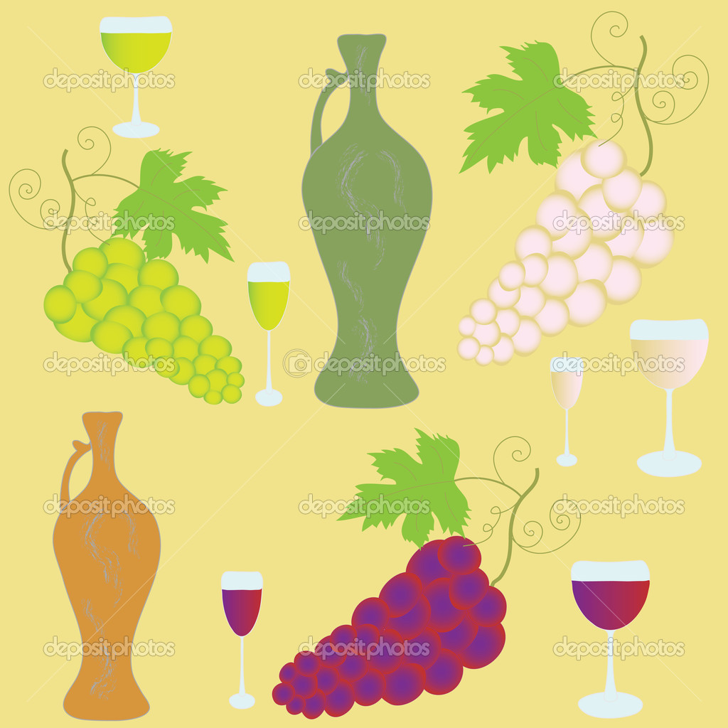 Set with  bunches of grapes, wineglasses and amphora — Image vectorielle #3859005