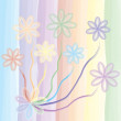 Stock Vector: Watercolour background with abctract rainbow floral elements