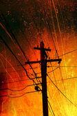 Strom-linien-verschmutzung — Stockfoto