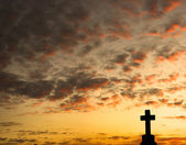 Cross Silhouette at Sunset — Stock Photo