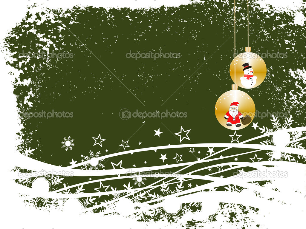 Vector illustration of christmas baubles on a winter background — Stock Vector #2725114