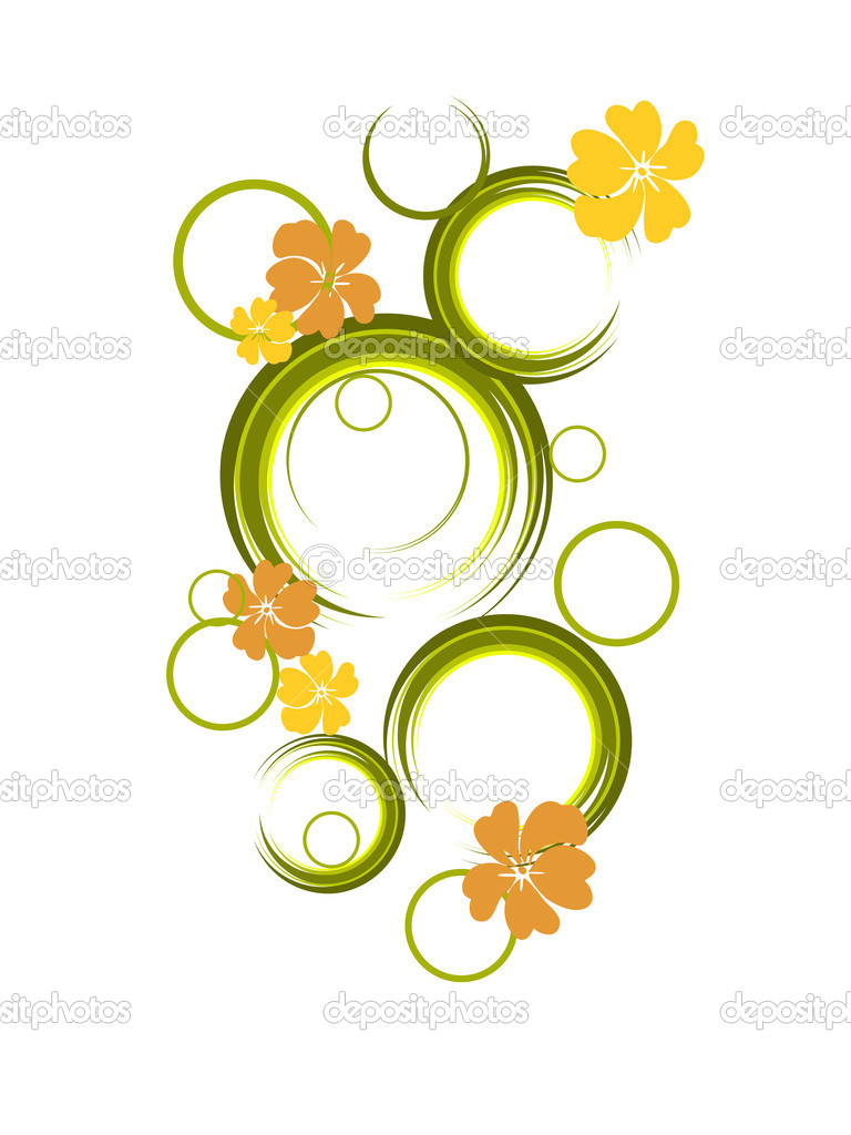 Vector illustration of a colorful flowers and circles  — Stock Vector #2830848