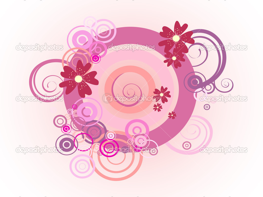 Vector illustration of colorful circles and flowers — Stock Vector #2830861