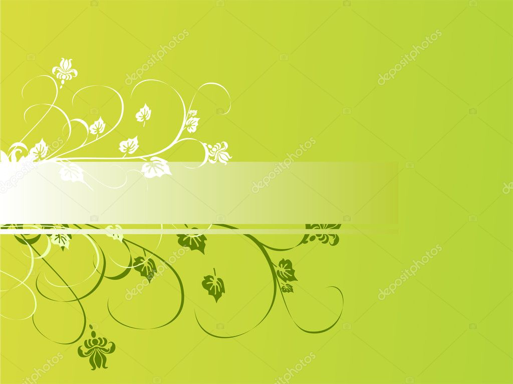 Vector illustration of green and white plants and flowers — Stock Vector #2831100