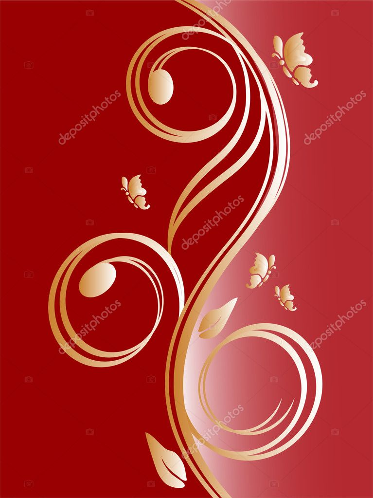 Vector illustration of a red and golden floral background — Stock Vector #2831166