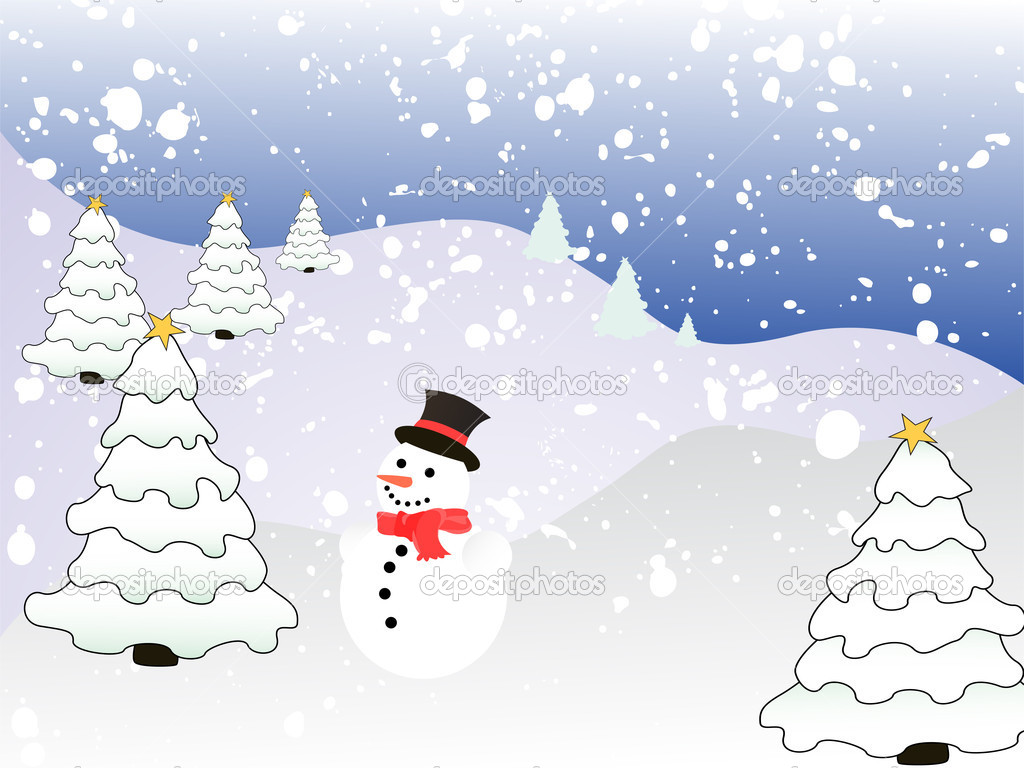 Vector illustratoion of a snowman on a winter landscape — Stock Vector #2869982