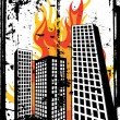 Burning city — Stock Vector