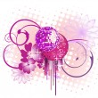 Mirror ball on floral background — Stock Vector #3143478