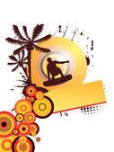 夏のスポーツ - ウエイクボーダー — ストックベクタ