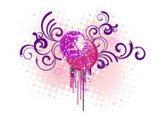 Mirror ball on floral background — Stock Vector