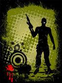 Man met geweer — Stockvector