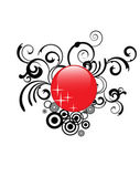 Red glass button — Stock Vector