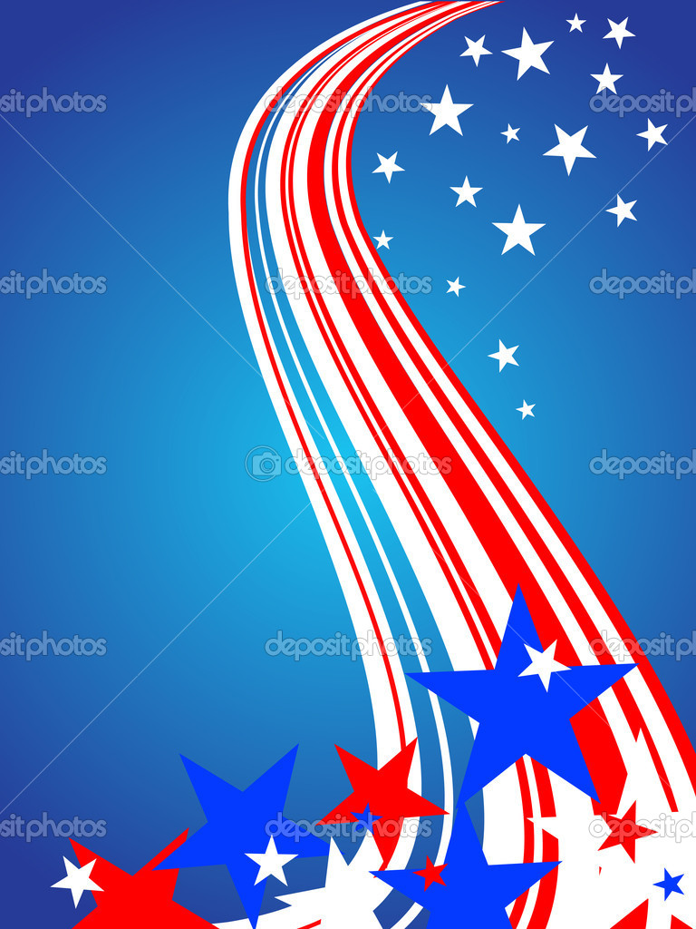 Illustration of colorful stars and stripes on a blue background — Stock Vector #3603444