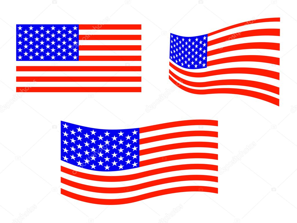 Illustration from an equipment of american flags — Stock Vector #3603625