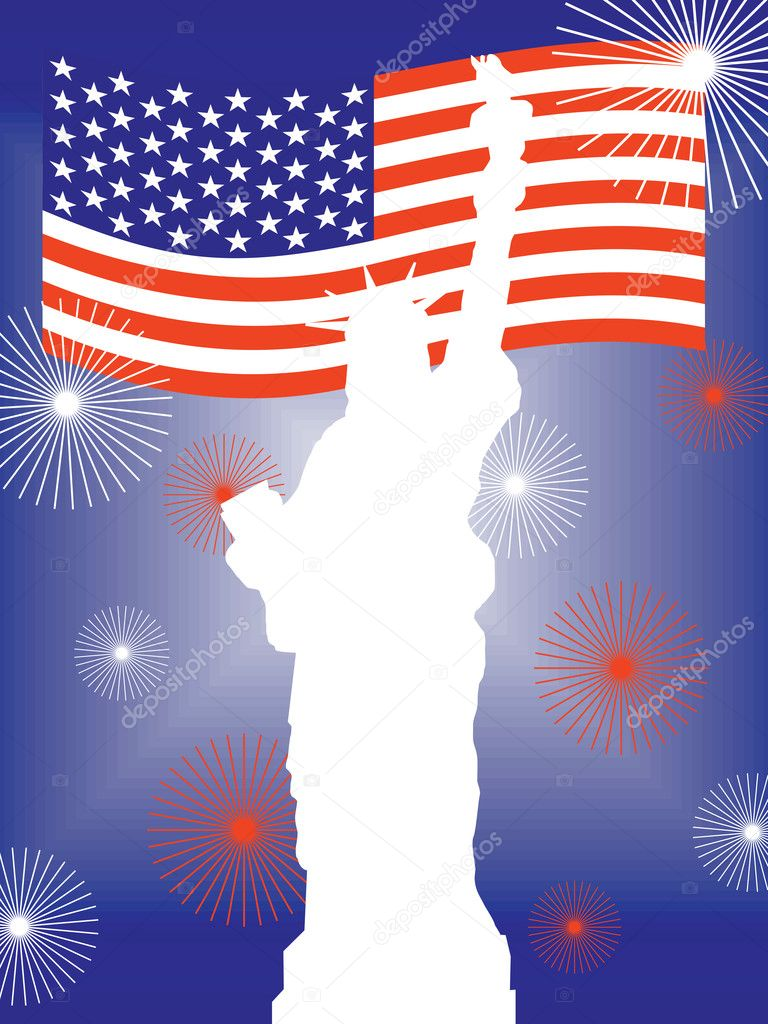Illustration from the statue of liberty on a colorful firework background — Stock Vector #3603673