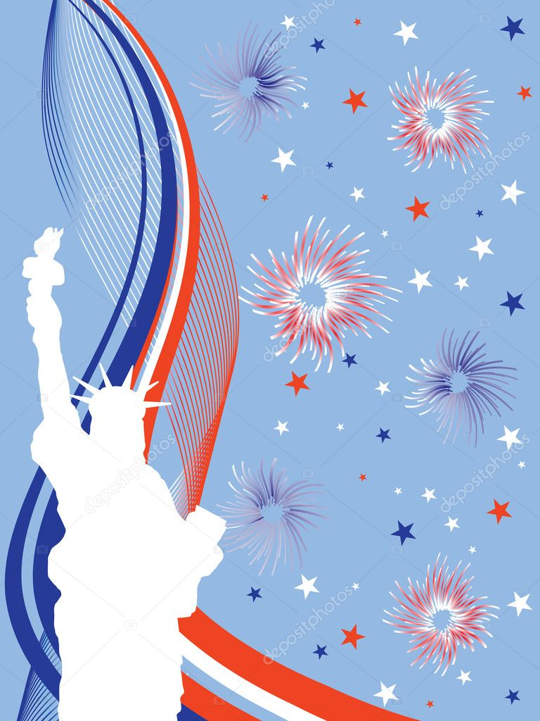 Vector illustration of the statue of liberty infront of a firework  Stock Vector #3789359