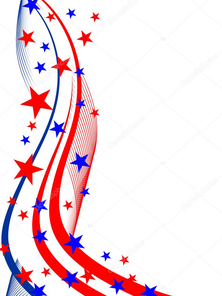 Vector illustration of stars and stripes on white — Imagen vectorial #3789984