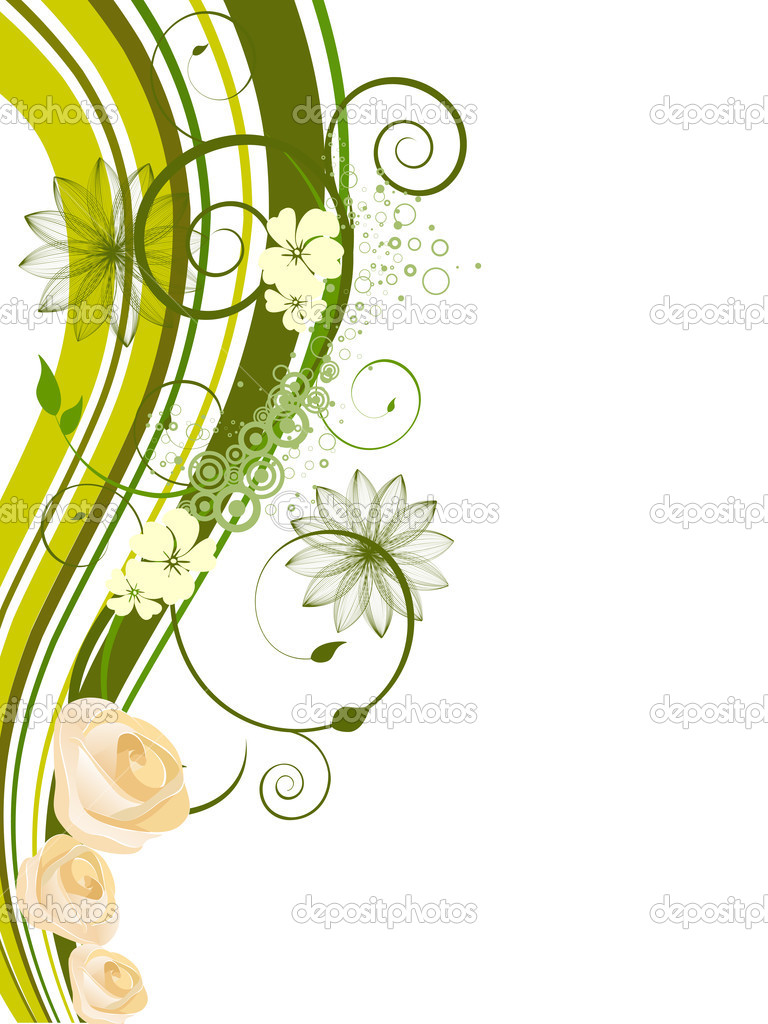 Illustration of white roses on a floral background — Stock Vector #3790203