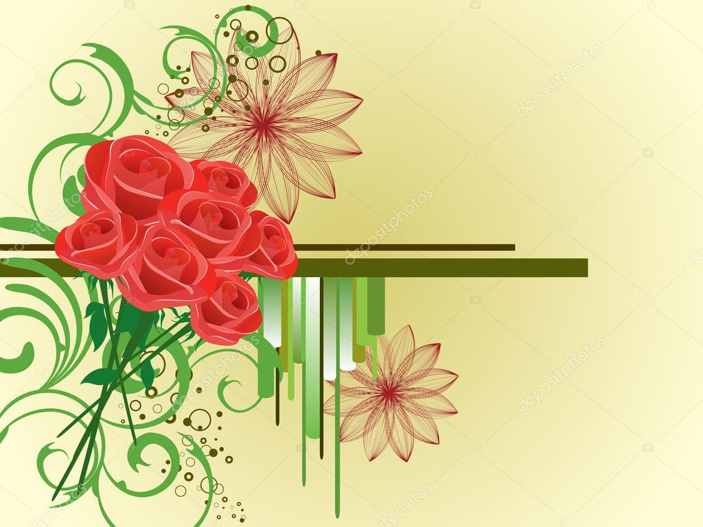 Illustration of a bouquet of red roses on a floral background — Stock Vector #3790250