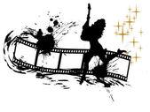 Disco menina na faixa de filme — Vetor de Stock