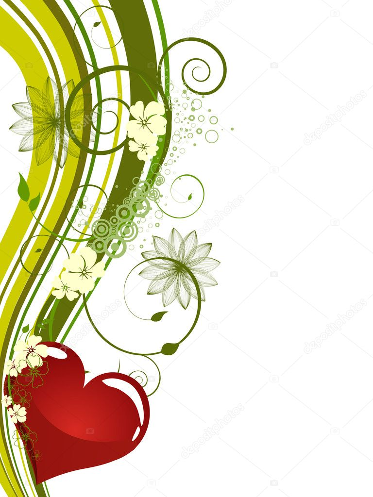Illustration of a red heart on  a floral background — Stock Vector #3817717