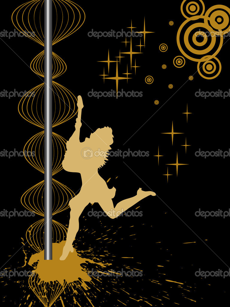 Illustration of a dancing female silhouette on a n abstract background — Stock Vector #3819653