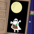 Постер, плакат: Halloween the girl decided to scare her neighbor
