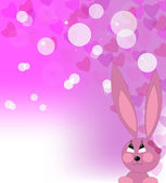 Enamoured pink rabbit — Stock Vector