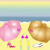 Love on a beach — Stock Vector