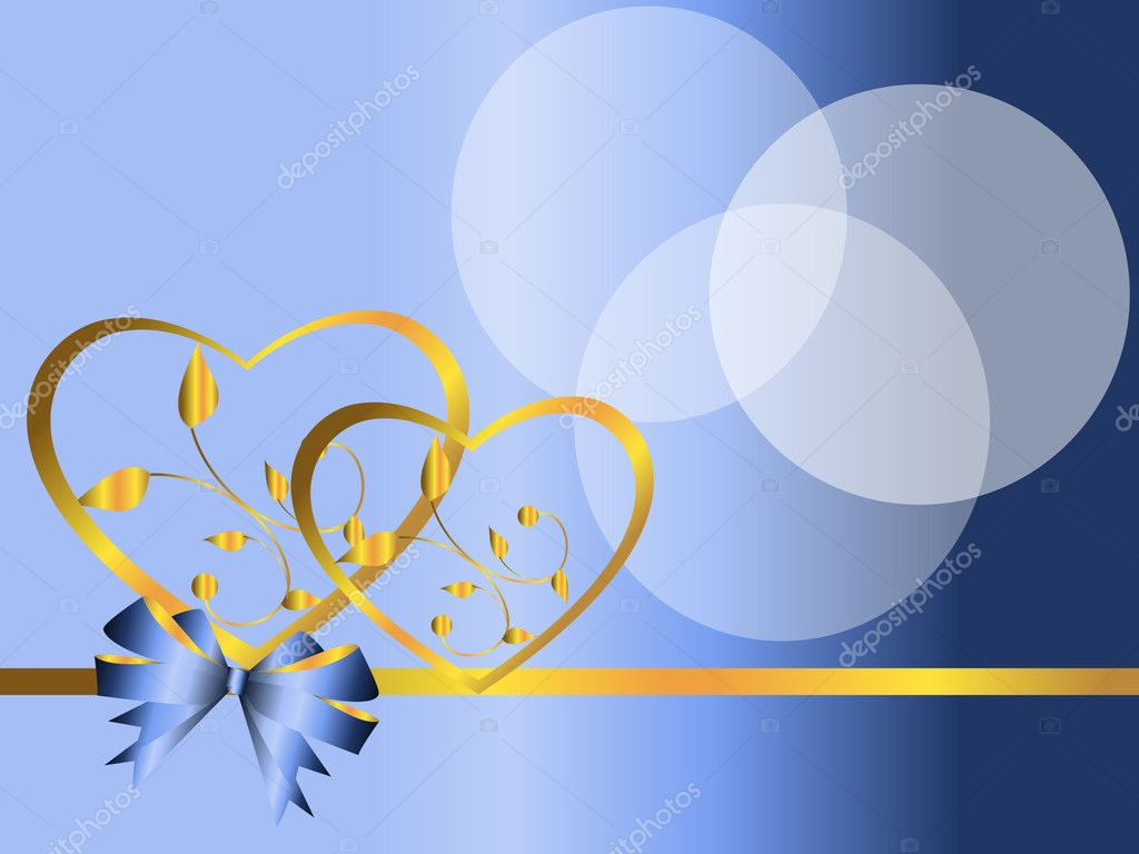 Two hearts of gold on a blue background with a tape  Stock Vector #3193682