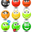 Stock Vector: Set smiles with different expression of emotions