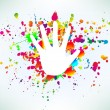 Prints of hands on ink colorful splash. Vector — Stock Vector