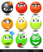 Set smiles with different expression of emotions — Stock Vector