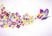 Abstracte achtergrond met vlinder en bloemen — Stockvector