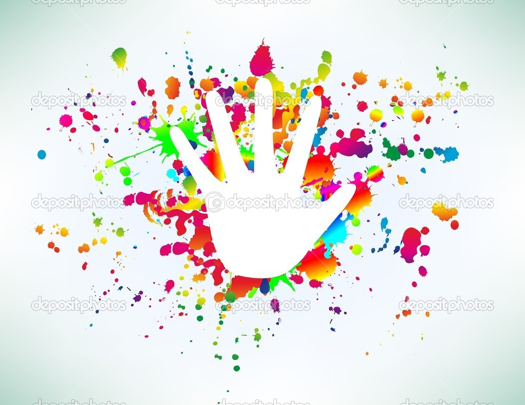 Cymk Puzzle Prints Of Hands On Ink Colorful Splash Vector Stock