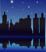 View of night city. Vector illustration — Stock Vector