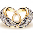 Gold vector wedding rings and diamonds - Stok Vektör