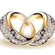 Gold vector wedding rings and diamonds — Imagens vectoriais em stock
