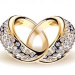 Золото вектор обручальные кольца и бриллиантами — Cтоковый вектор