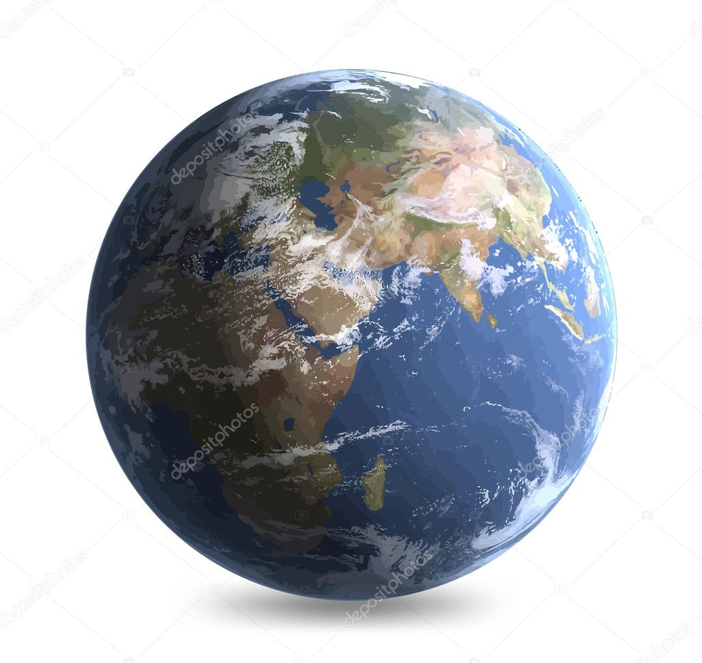 World globe - editable earth vector illustration — ベクター素材ストック #3573055